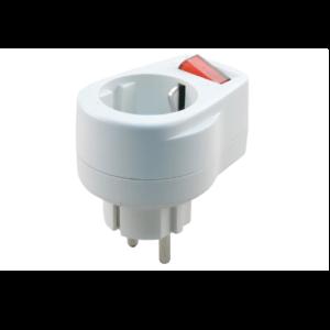 Stekker schakelaar lamp 10-16 ampere wit met randaarde